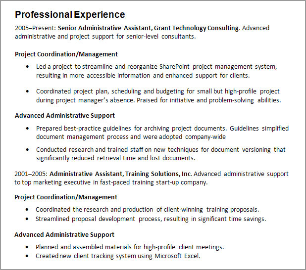 resume working experience
