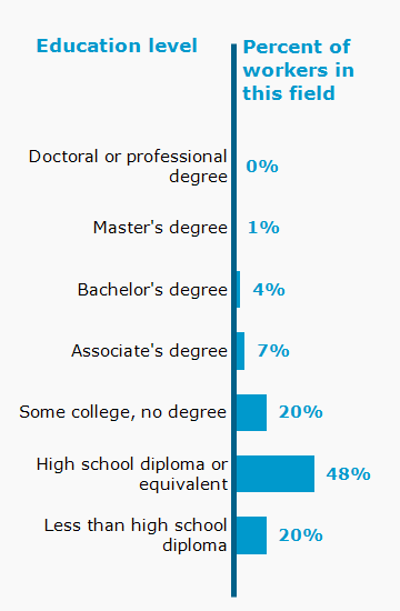 Chart. Percent of workers in this field by education level attained